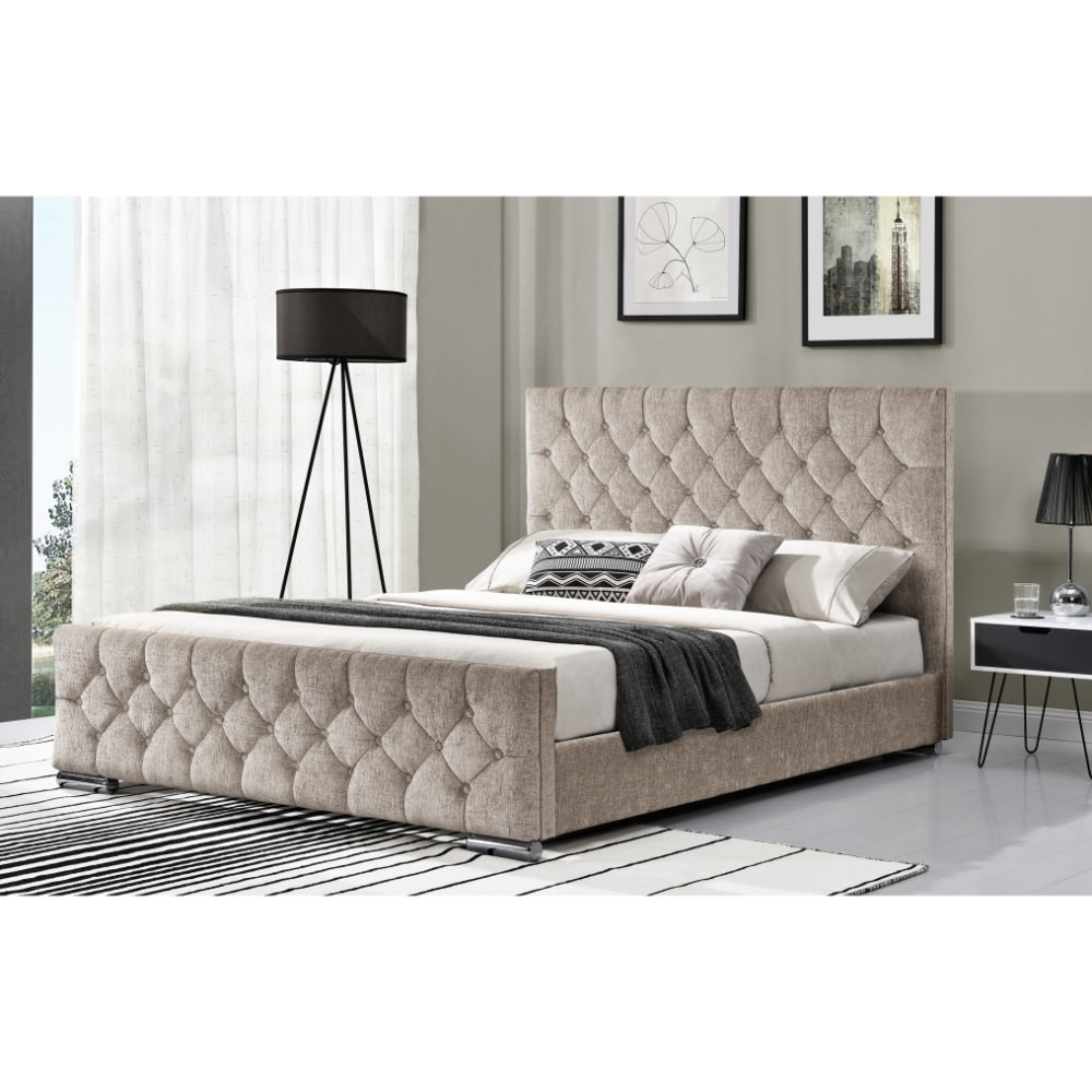 Carina 5' Bed - Chenille Mink Angle - Value Flooring and Furniture