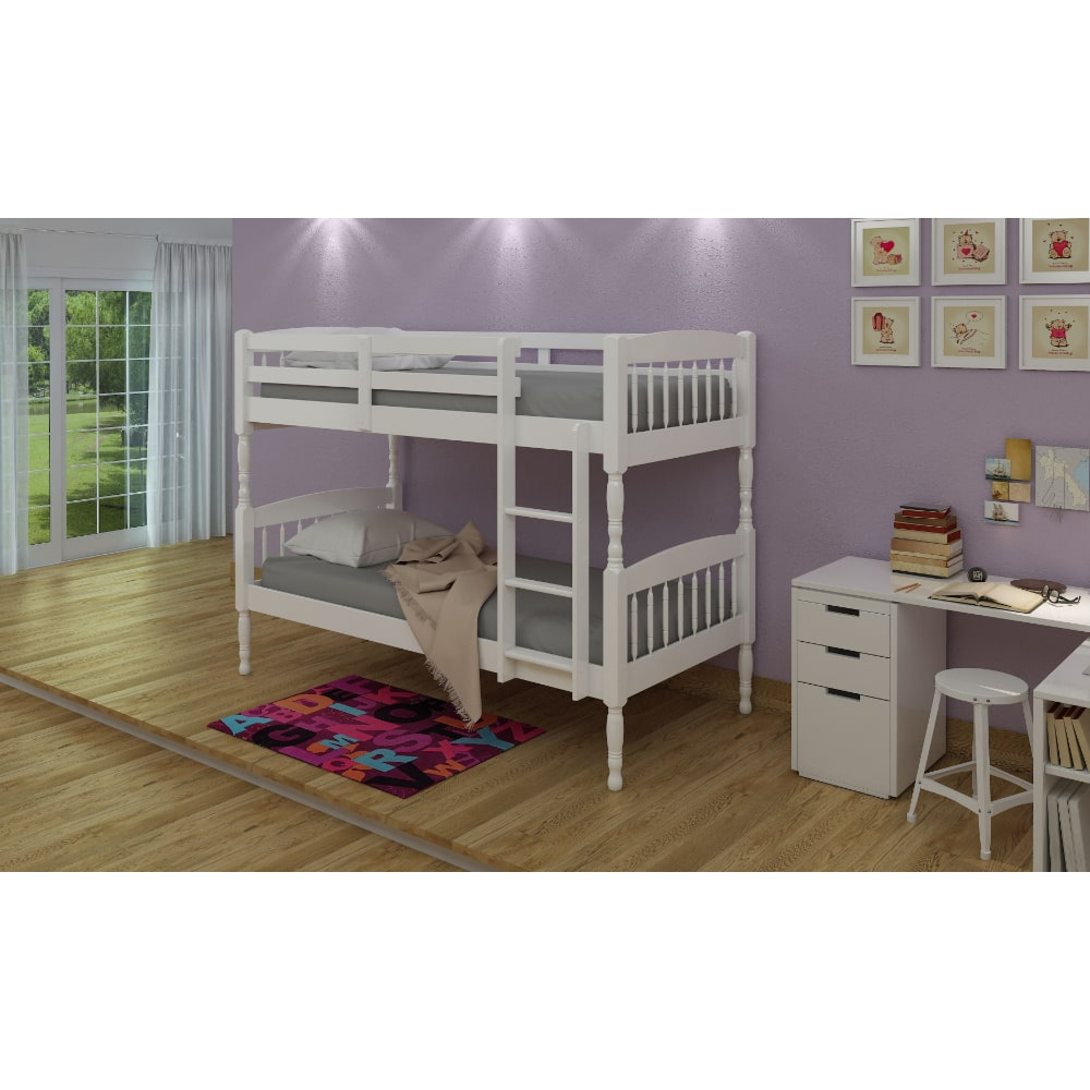 Alex 3' Bunk Bed - White - Value Flooring and Furniture