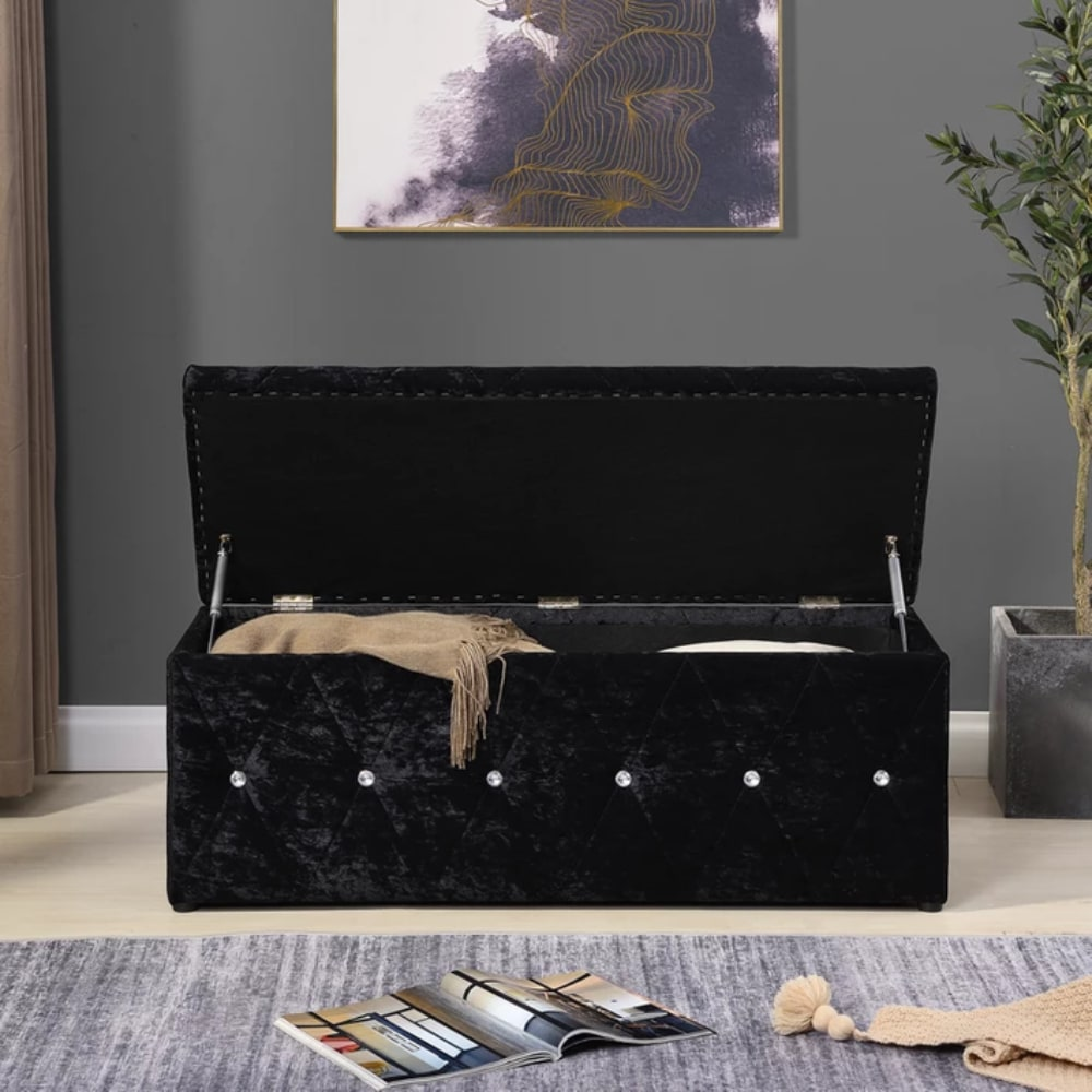 Blanket Box - Black Open - Value Flooring and Furniture