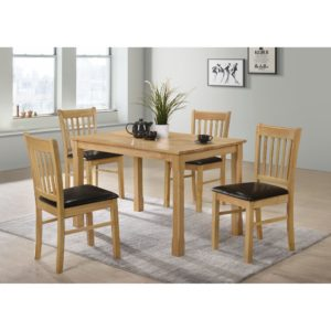 Bolton 4' Dining Set - Black Faux Leather and Oak - Value Flooring and Furniture