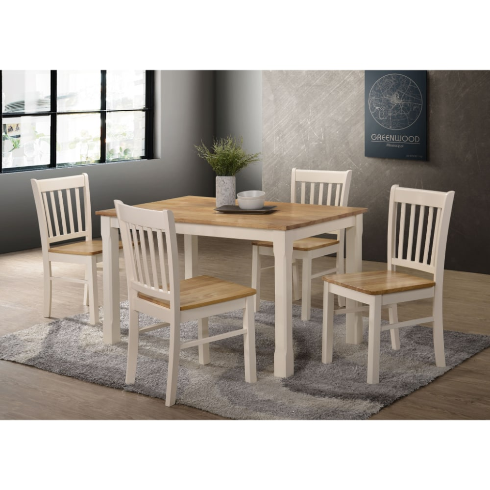 Bolton 4' Dining Set - Cream and Oak - Value Flooring and Furniture
