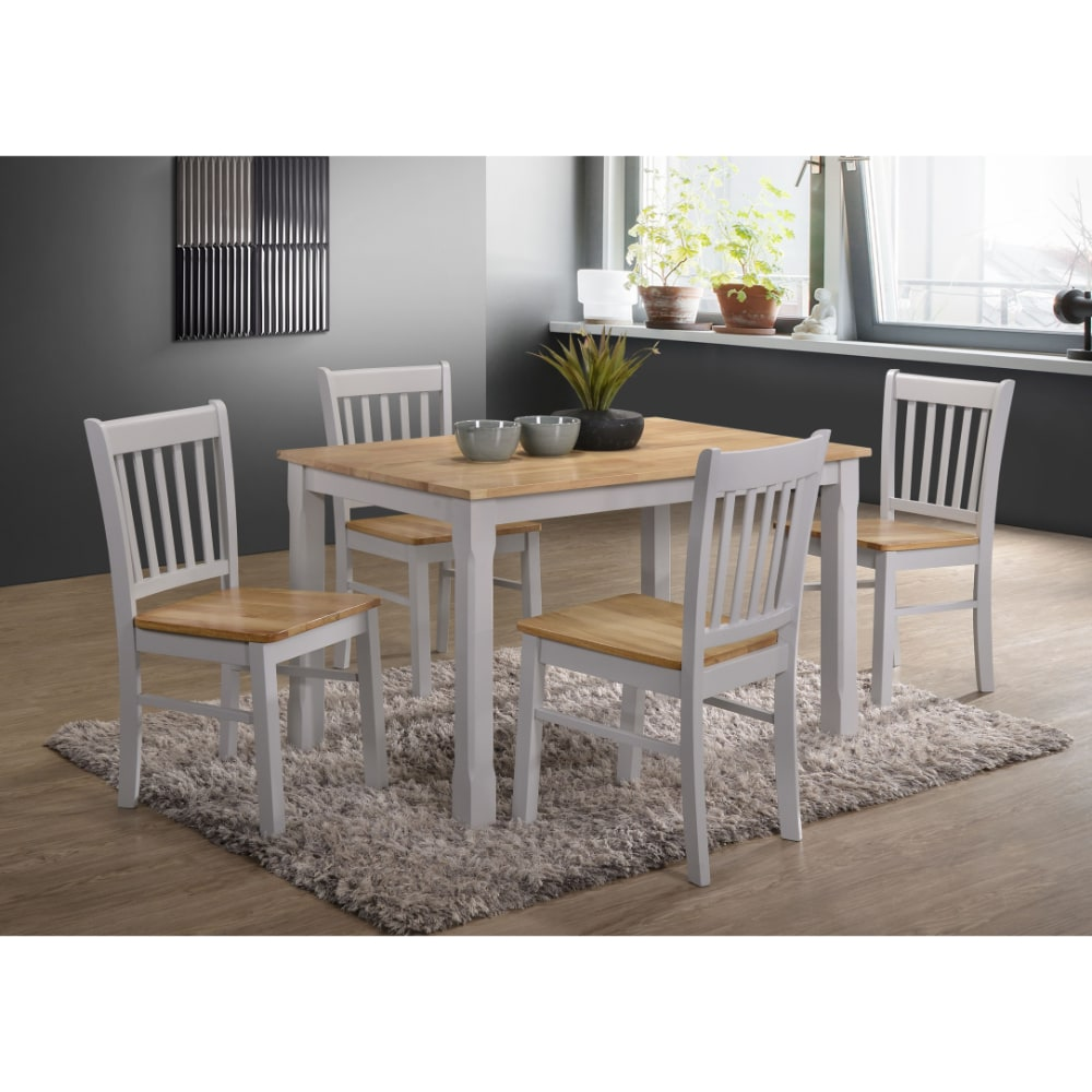 Bolton 4' Dining Set - Grey and Oak - Value Flooring and Furniture