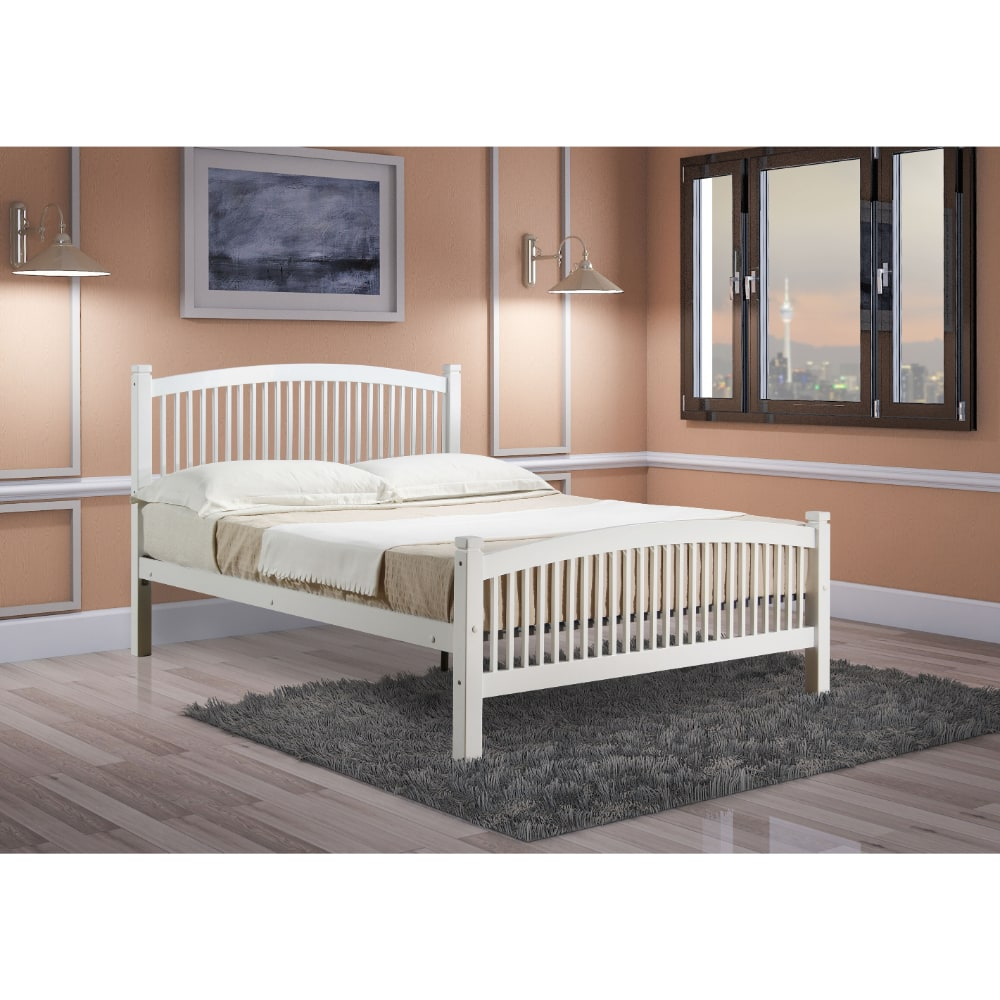 Carla 4'6 Bed - White - Value Flooring and Furniture