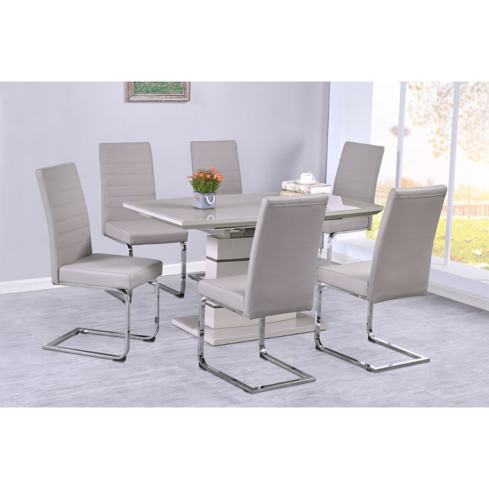 Chantelle Dining Set - Cream - Value Flooring and Furniture