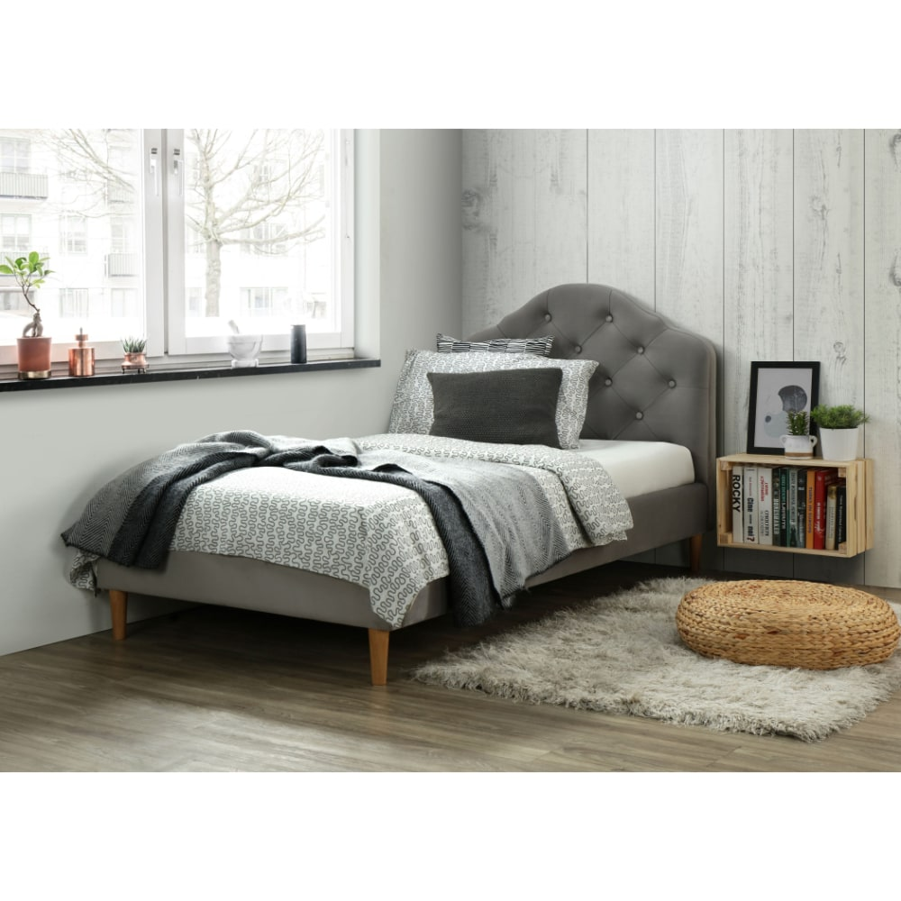 Chloe 3' Bed - Grey - Value Flooring and Furniture
