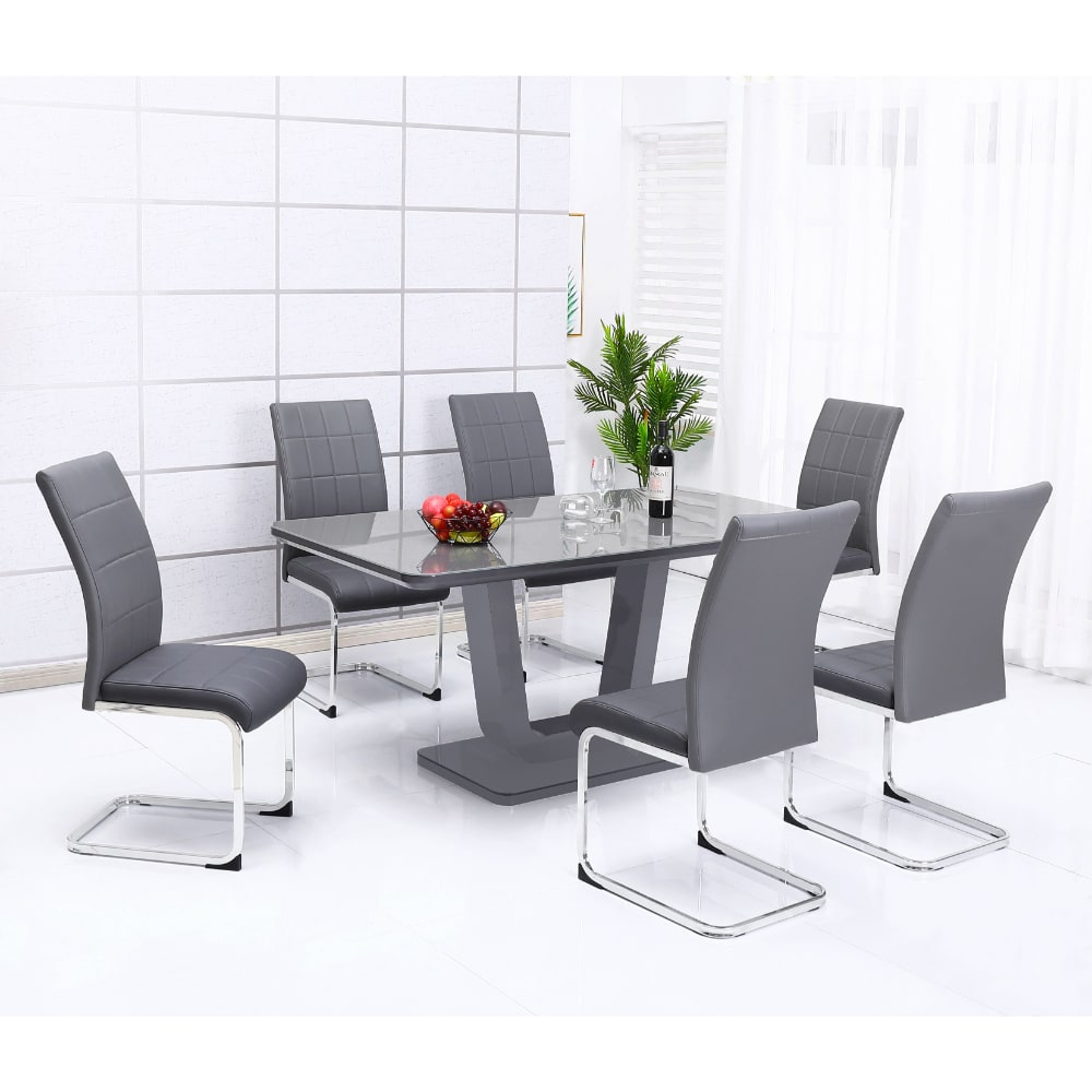 Edel Dining Set - Grey - Value Flooring and Furniture