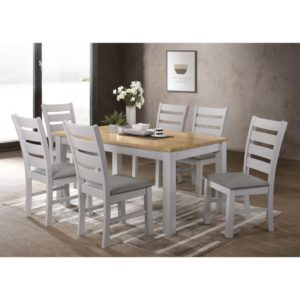 Hampshire 5' Dining Set - Grey Faux Leather and Oak - Value Flooring and Furniture