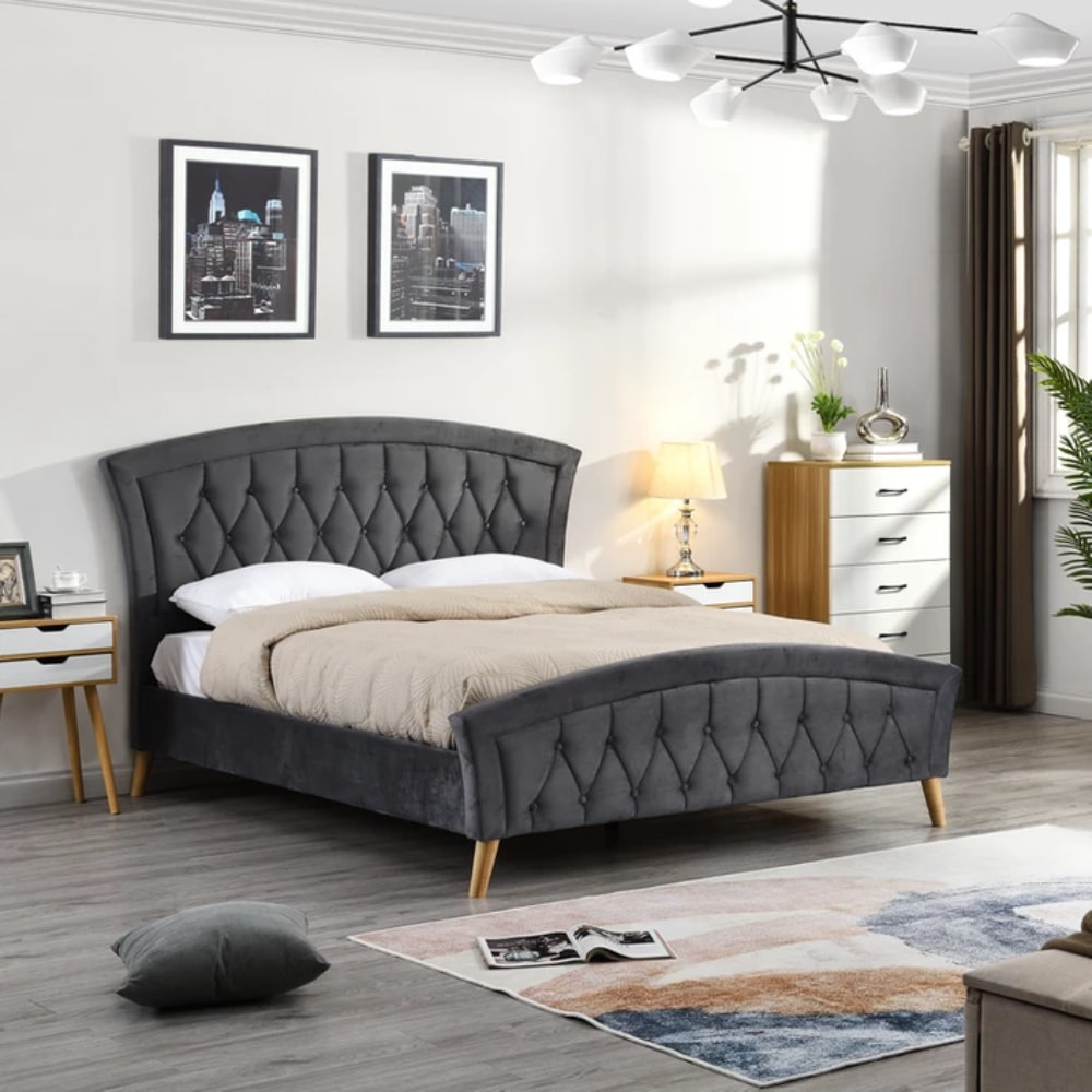 Kingston Bed - Dark Grey - Value Flooring and Furniture