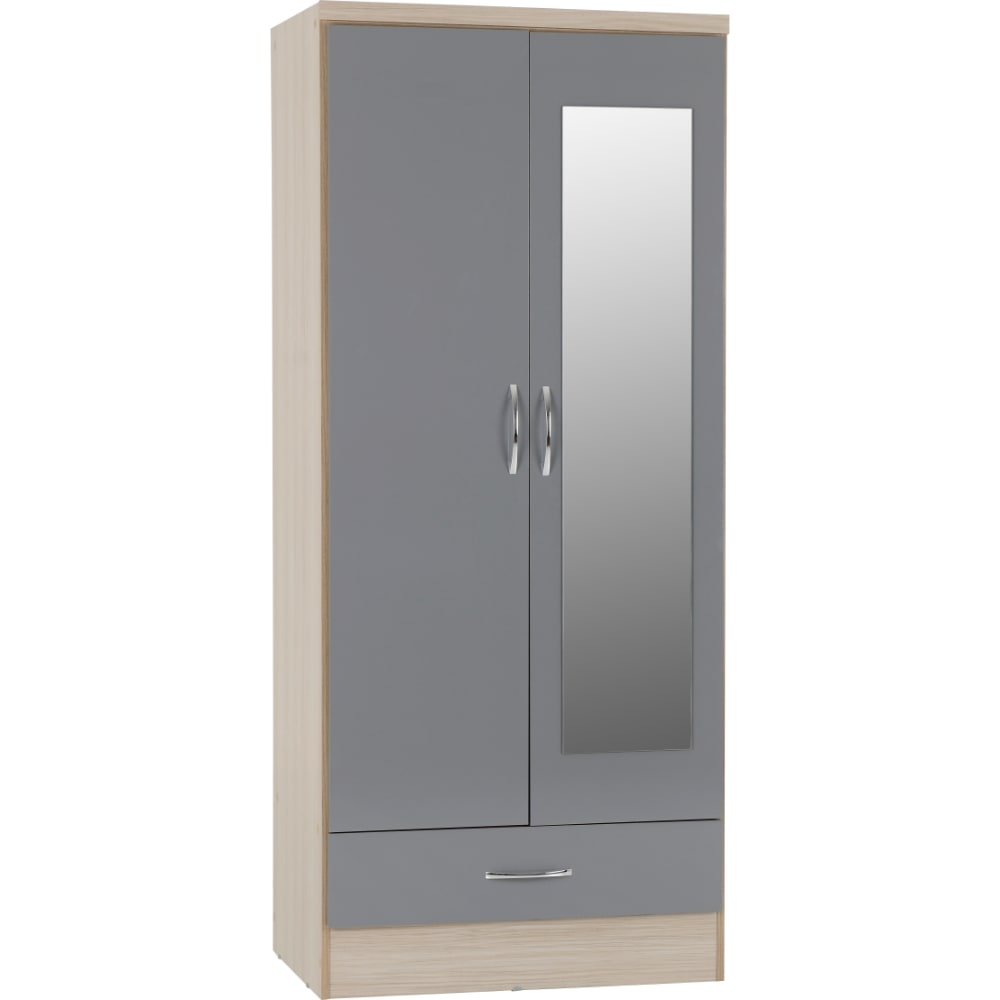 Nevada 2 Door 1 Drawer Mirrored Wardrobes - Grey - Value Flooring and Furniture