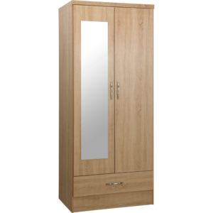 Nevada 2 Door 1 Drawer Mirrored Wardrobes - Oak - Value Flooring and Furniture