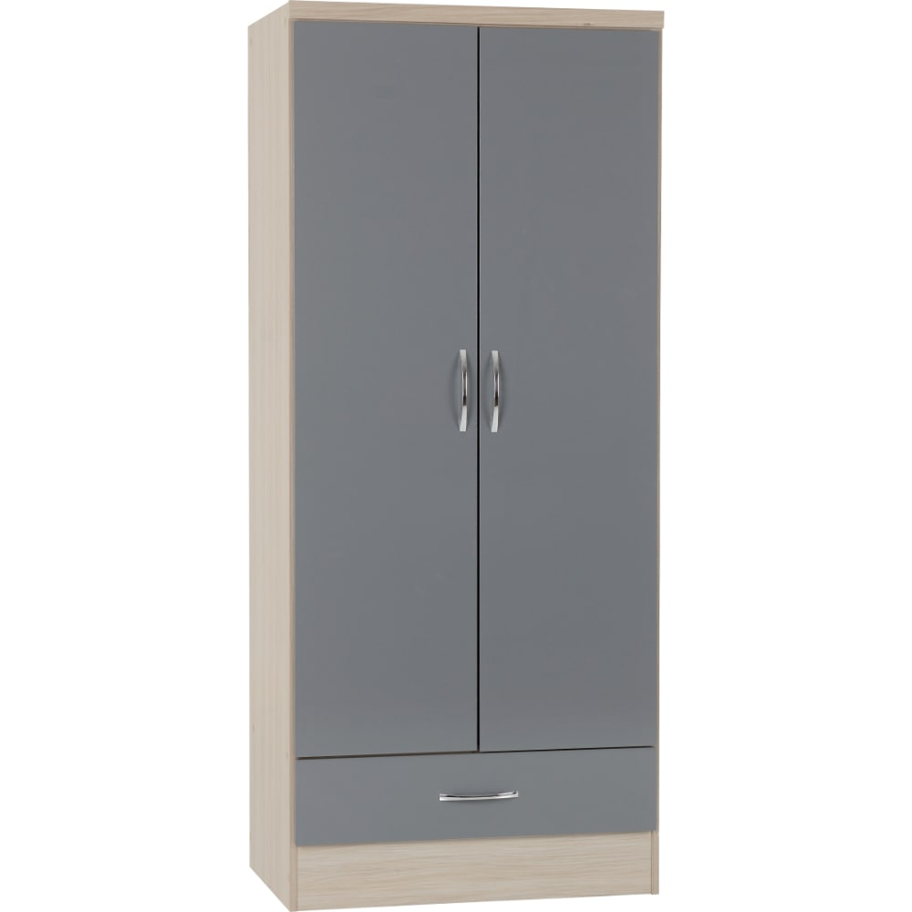 Nevada 2 Door 1 Drawer Wardrobes - Grey - Value Flooring and Furniture