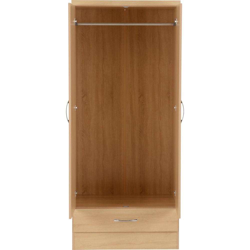 Nevada 2 Door 1 Drawer Wardrobes Open - Oak - Value Flooring and Furniture