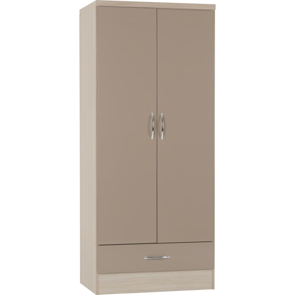 Nevada 2 Door 1 Drawer Wardrobes - Oyster - Value Flooring and Furniture