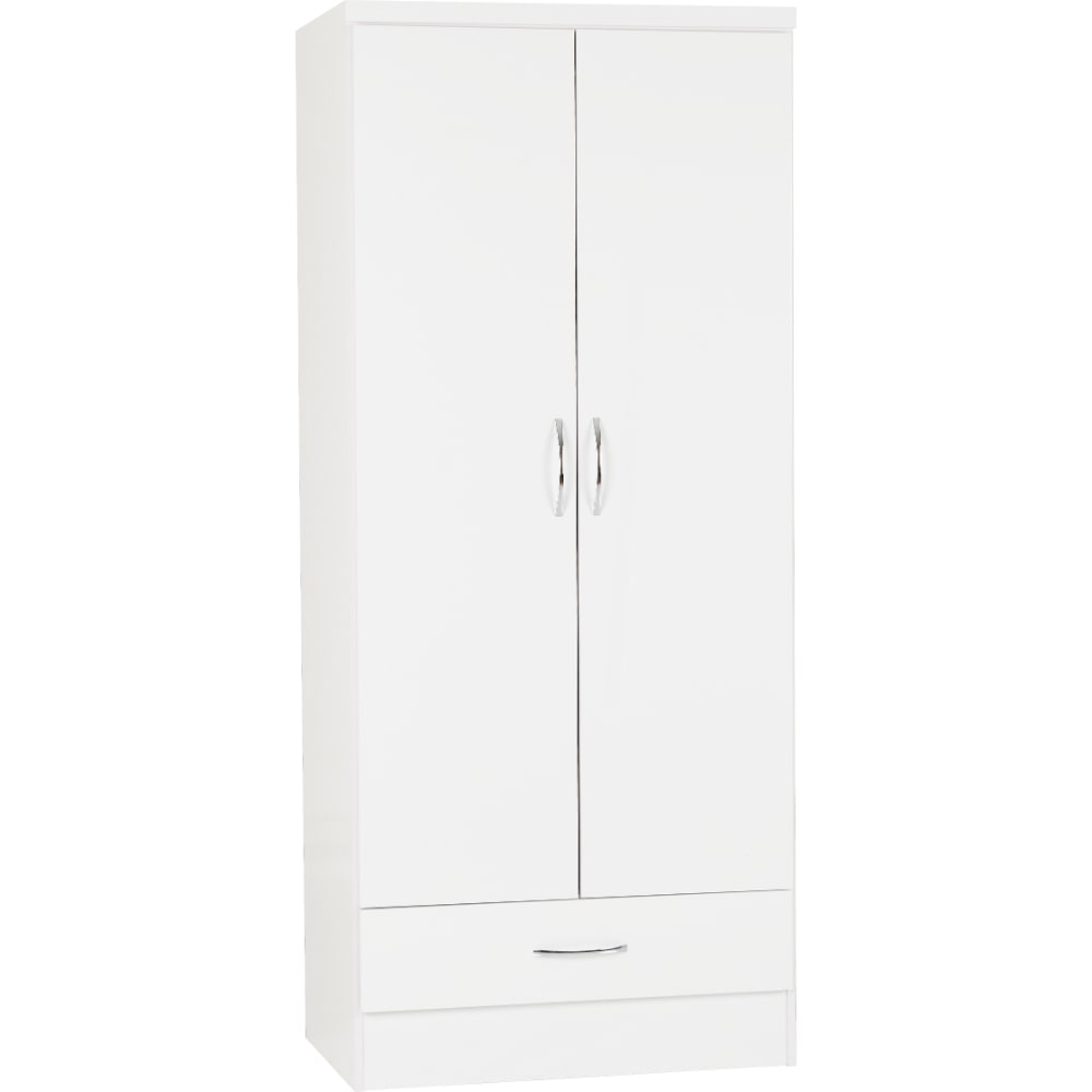 Nevada 2 Door 1 Drawer Wardrobes - White - Value Flooring and Furniture