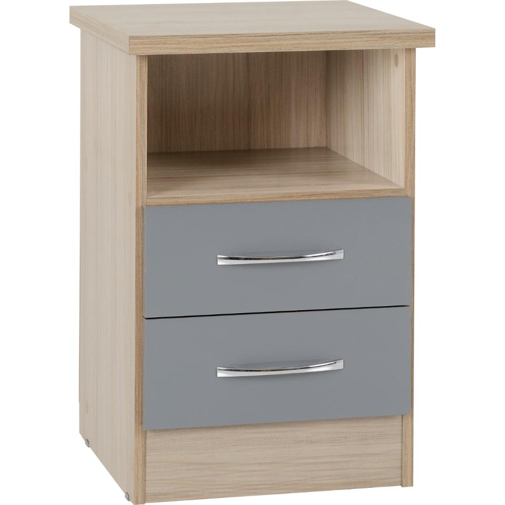 Nevada 2 Drawer Bedside Locker - Grey - Value Flooring and Furniture