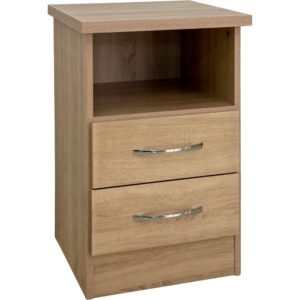 Nevada 2 Drawer Bedside Locker - Oak - Value Flooring and Furniture