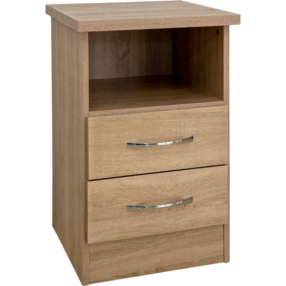 Nevada 2 Drawer Bedside Locker - Oak - Value Flooring and Furniture