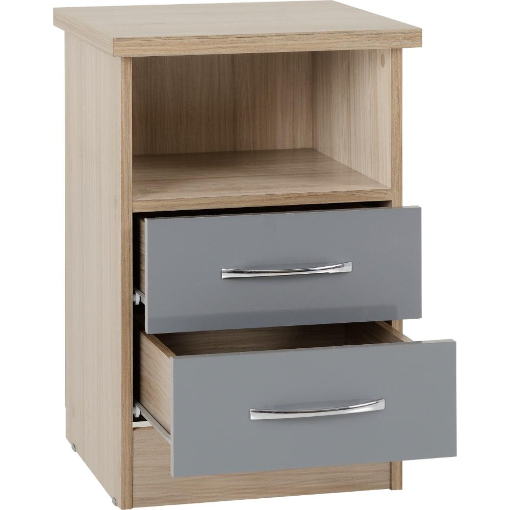 Nevada 2 Drawer Bedside Locker Open - Grey - Value Flooring and Furniture
