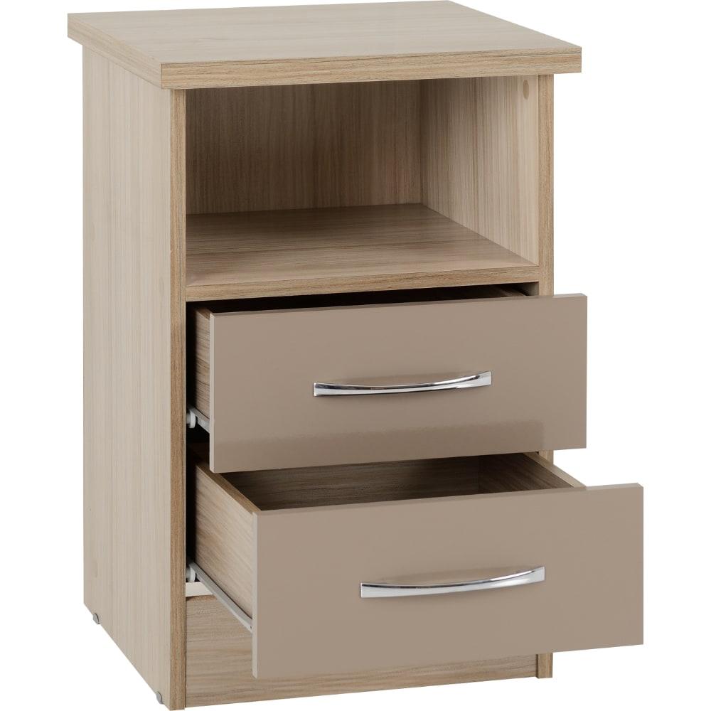 Nevada 2 Drawer Bedside Locker Open - Oyster - Value Flooring and Furniture