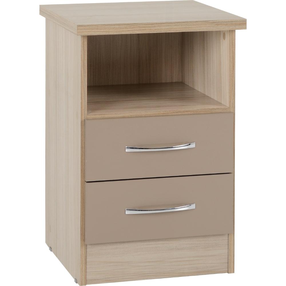 Nevada 2 Drawer Bedside Locker - Oyster - Value Flooring and Furniture