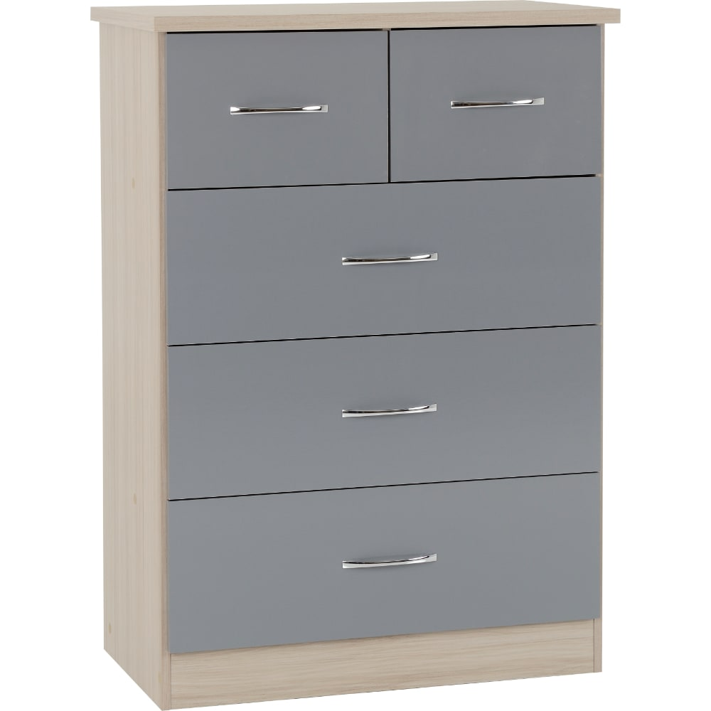 Nevada 3 + 2 Drawer Chest - Grey - Value Flooring and Furniture