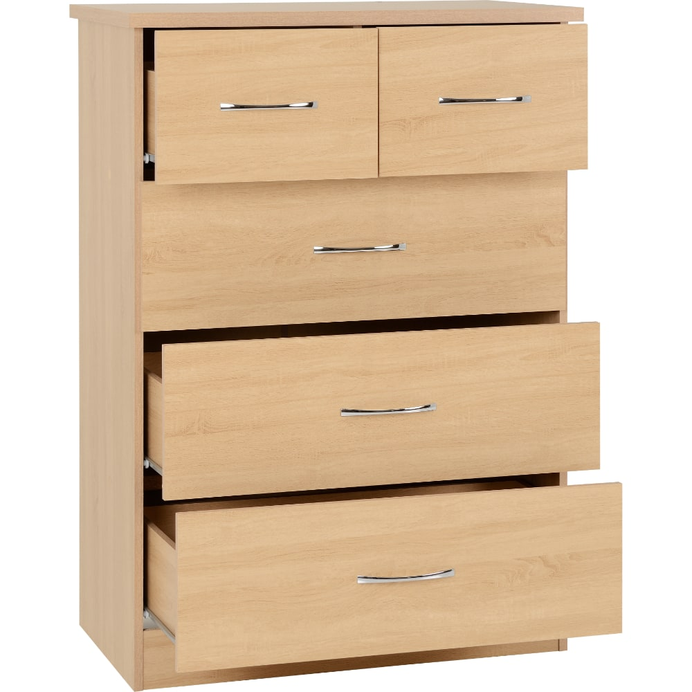 Nevada 3 + 2 Drawer Chest Open - Oak - Value Flooring and Furniture
