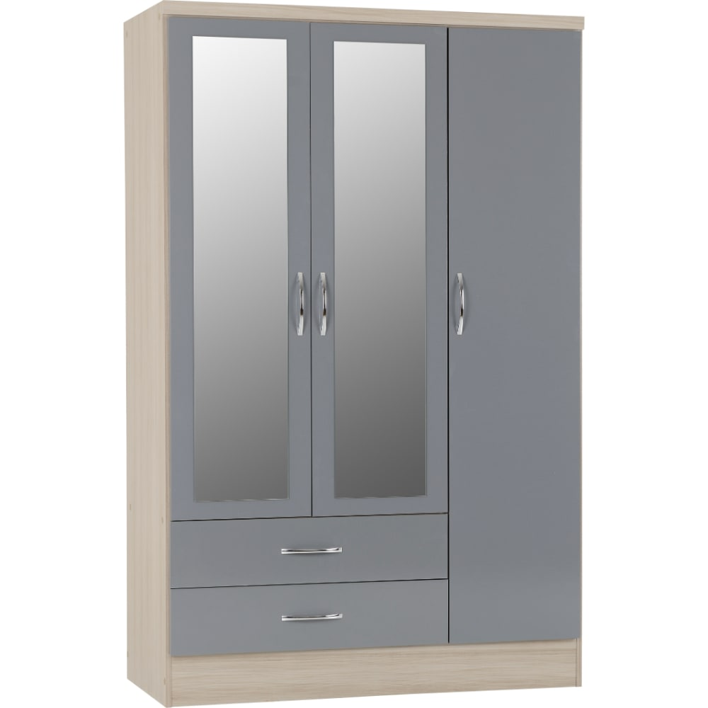 Nevada 3 Door 2 Drawer Wardrobes - Grey - Value Flooring and Furniture