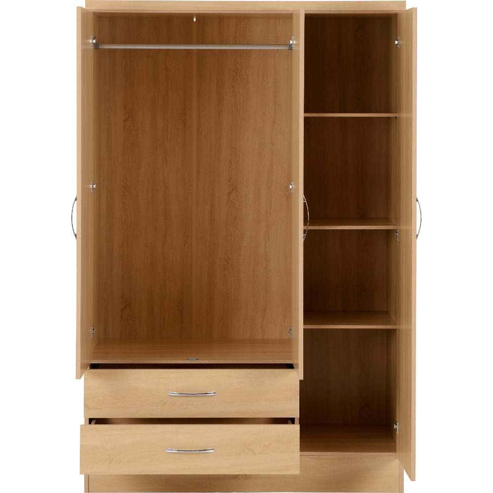 Nevada 3 Door 2 Drawer Wardrobes Open - Oak - Value Flooring and Furniture