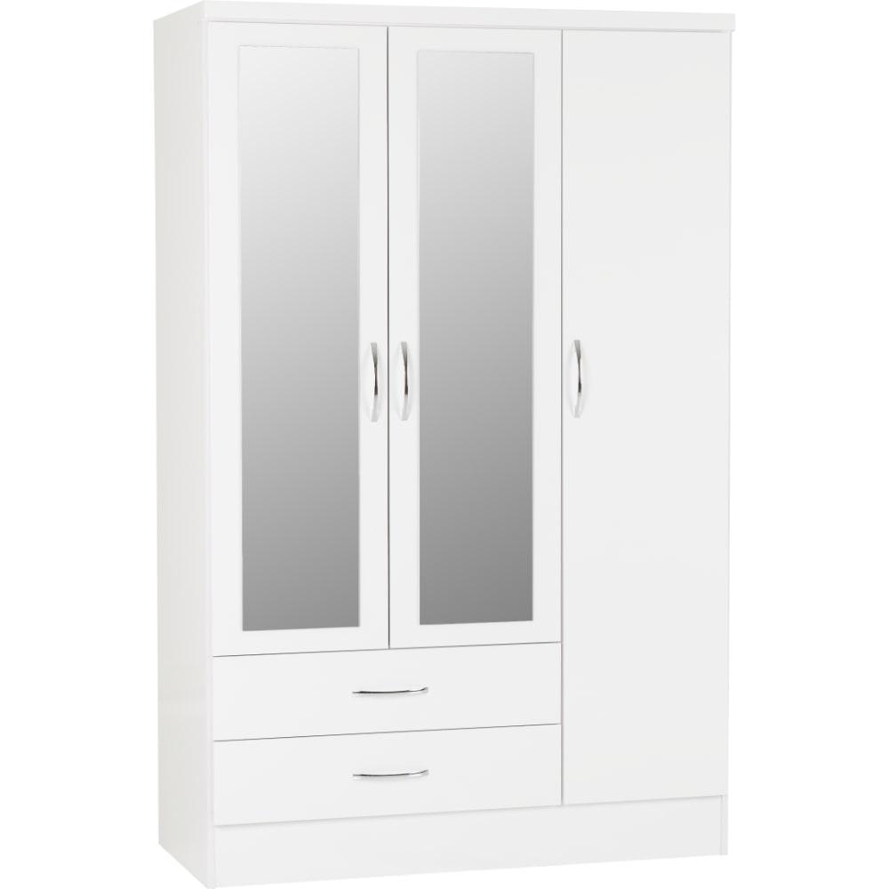 Nevada 3 Door 2 Drawer Wardrobes - White - Value Flooring and Furniture