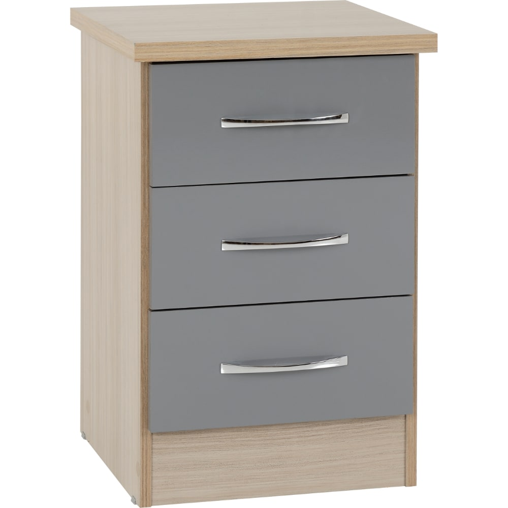 Nevada 3 Drawer Bedside Locker - Grey - Value Flooring and Furniture