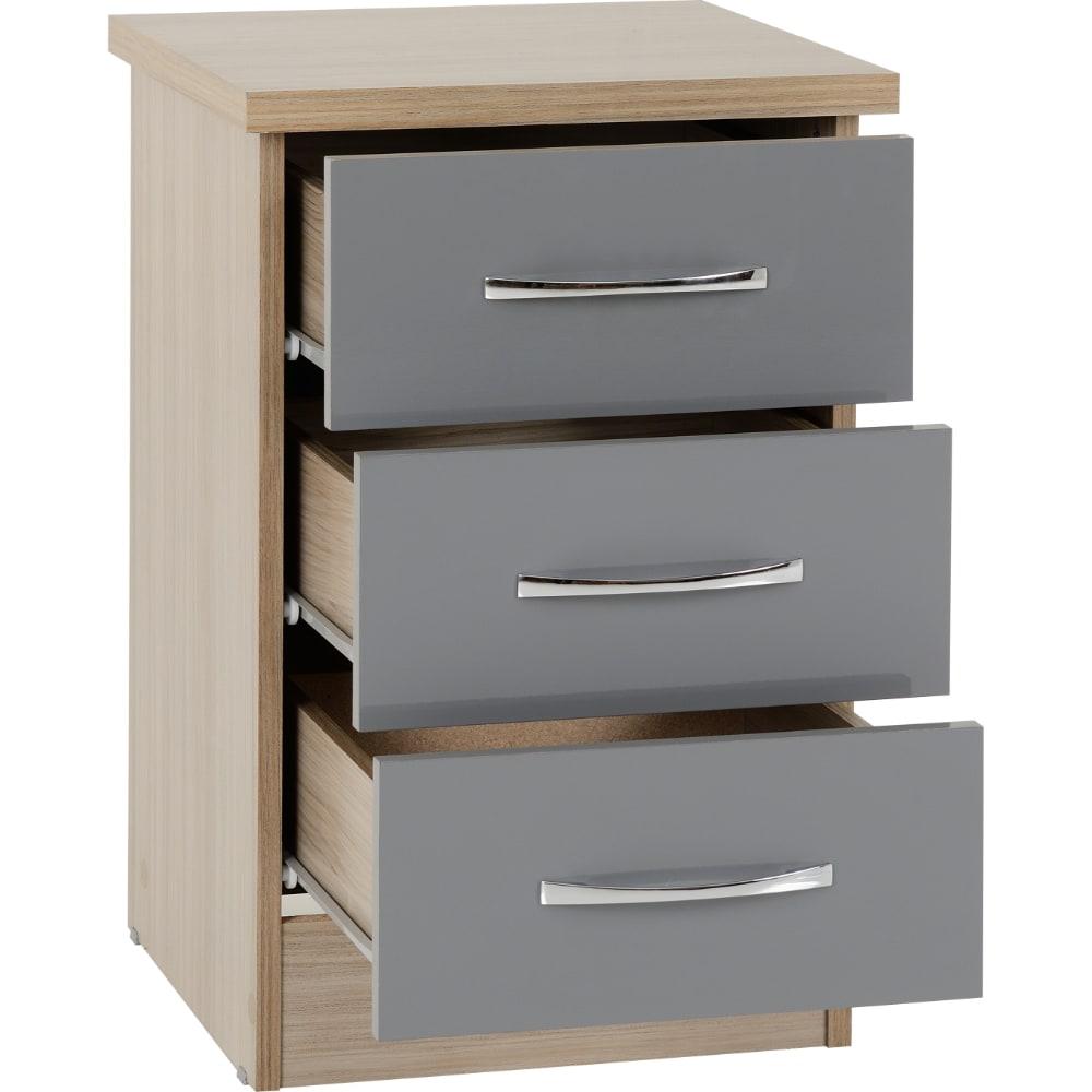 Nevada 3 Drawer Bedside Locker Open - Grey - Value Flooring and Furniture
