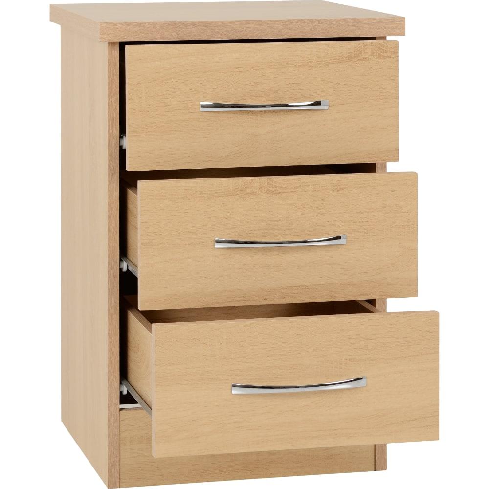 Nevada 3 Drawer Bedside Locker Open - Oak - Value Flooring and Furniture