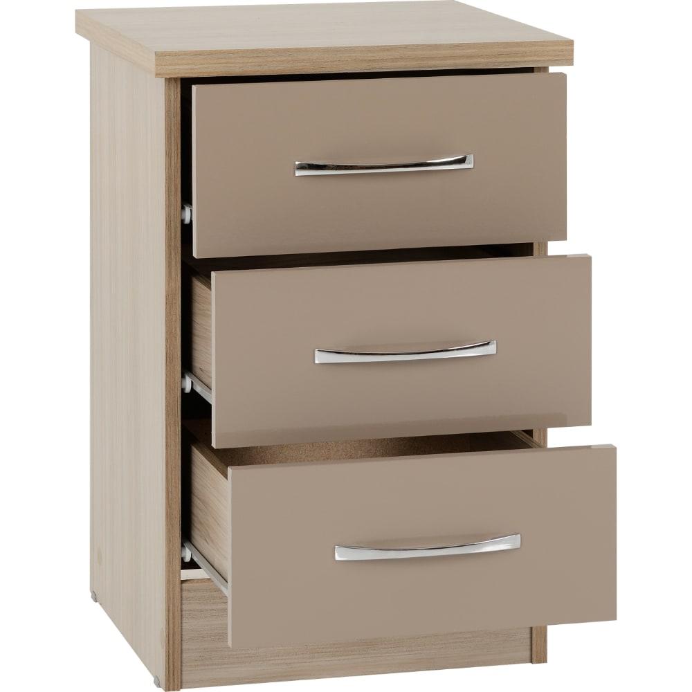 Nevada 3 Drawer Bedside Locker Open - Oyster - Value Flooring and Furniture
