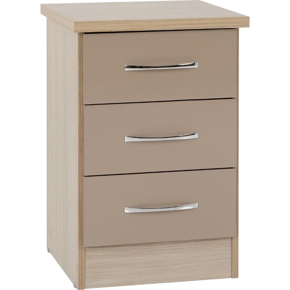 Nevada 3 Drawer Bedside Locker - Oyster - Value Flooring and Furniture