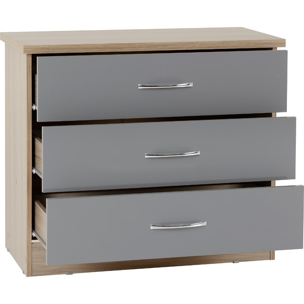 Nevada 3 Drawer Chest Open - Grey - Value Flooring and Furniture