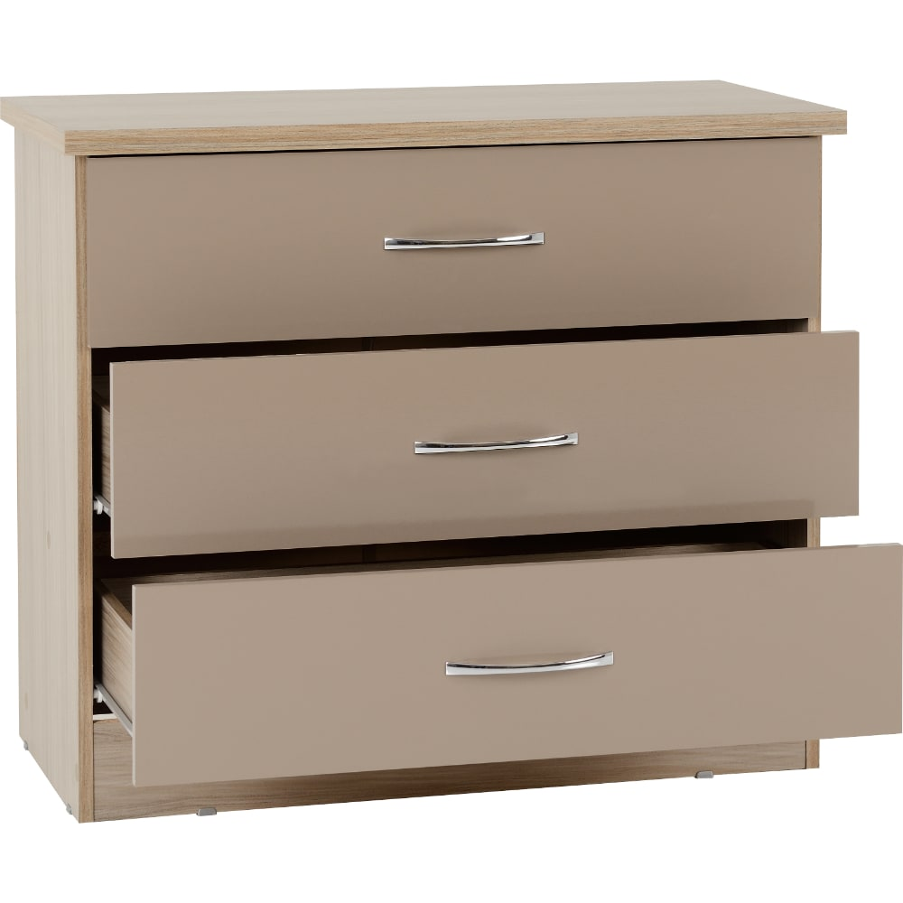 Nevada 3 Drawer Chest Open - Oyster - Value Flooring and Furniture