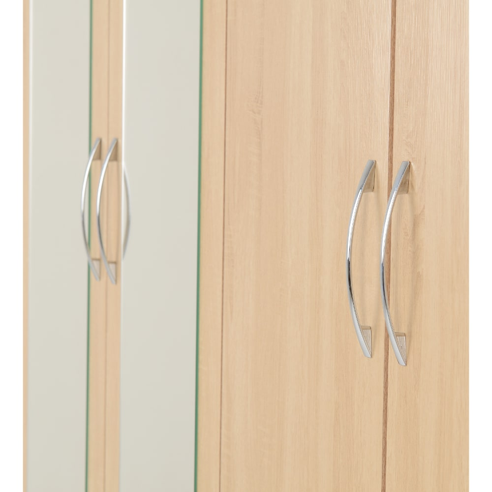Nevada 4 Door 2 Drawer Wardrobes Detail - Oak - Value Flooring and Furniture