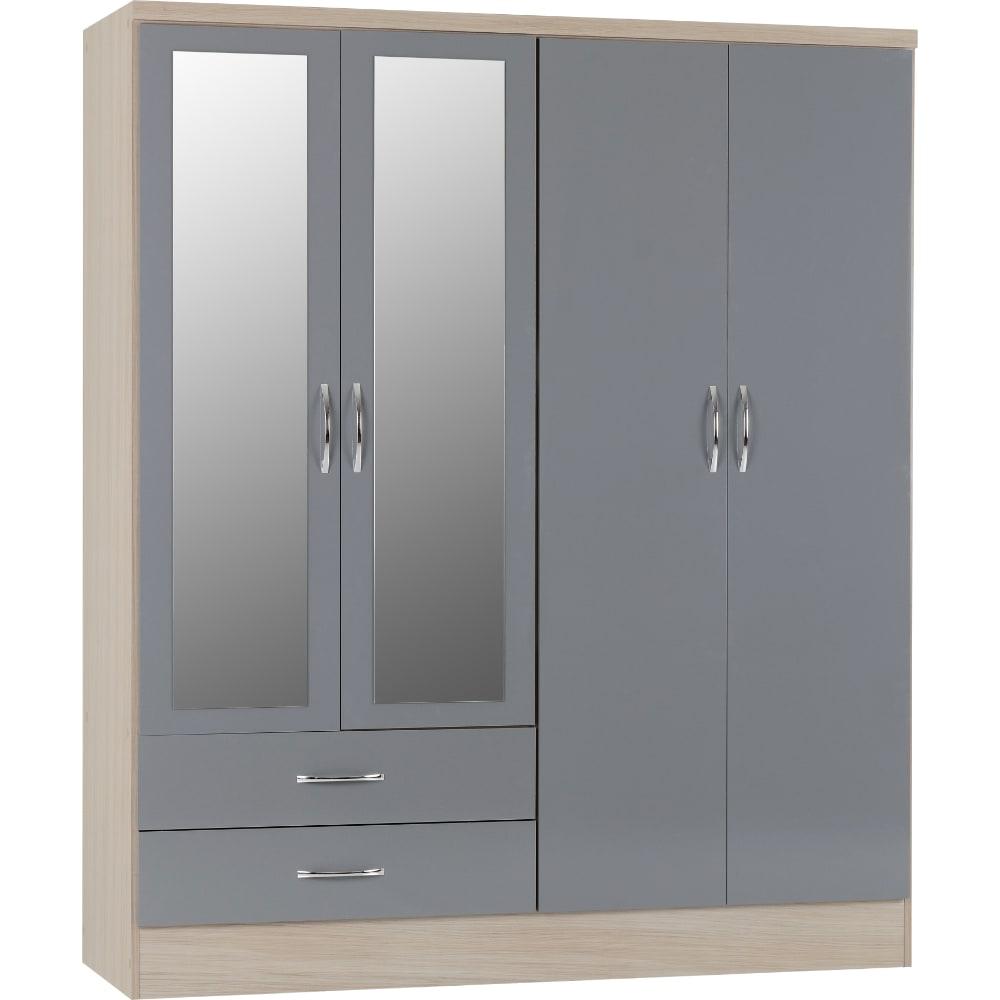 Nevada 4 Door 2 Drawer Wardrobes - Grey - Value Flooring and Furniture