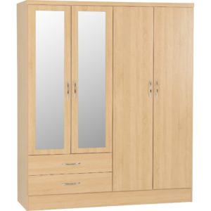 Nevada 4 Door 2 Drawer Wardrobes - Oak - Value Flooring and Furniture
