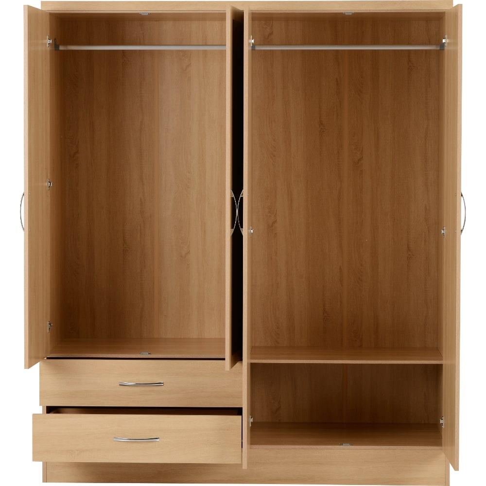 Nevada 4 Door 2 Drawer Wardrobes Open - Oak - Value Flooring and Furniture