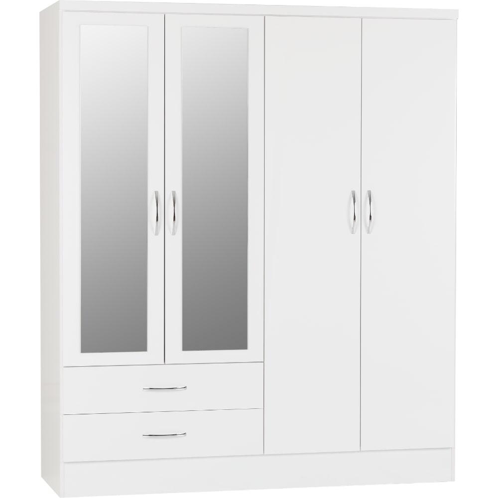 Nevada 4 Door 2 Drawer Wardrobes - White - Value Flooring and Furniture