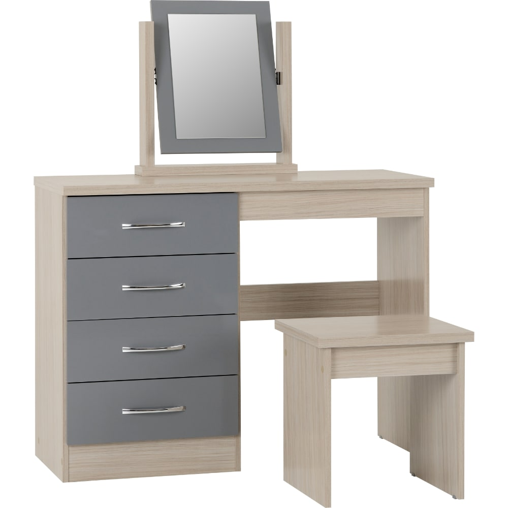 Nevada 4 Drawer Dressing Table - Grey - Value Flooring and Furniture