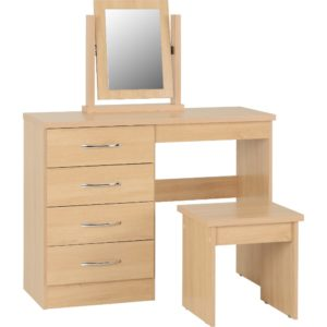 Nevada 4 Drawer Dressing Table - Oak - Value Flooring and Furniture