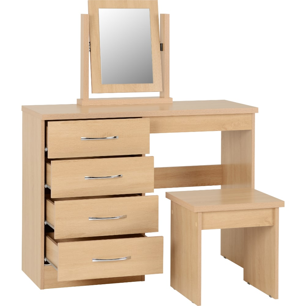 Nevada 4 Drawer Dressing Table Open - Oak - Value Flooring and Furniture