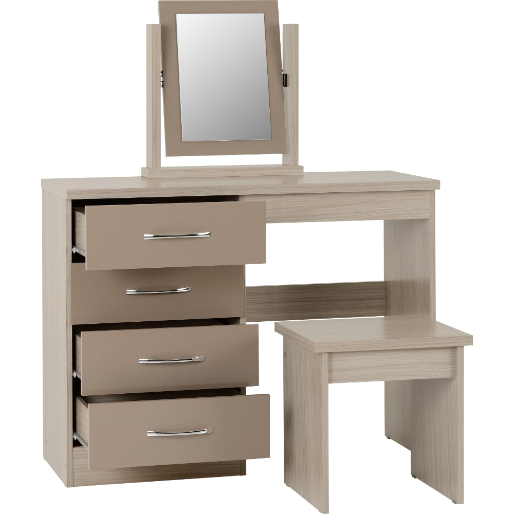 Nevada 4 Drawer Dressing Table Open - Oyster - Value Flooring and Furniture