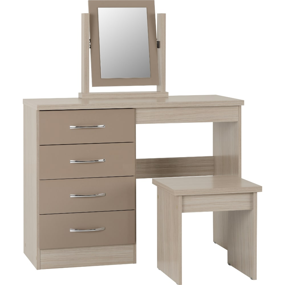 Nevada 4 Drawer Dressing Table - Oyster - Value Flooring and Furniture