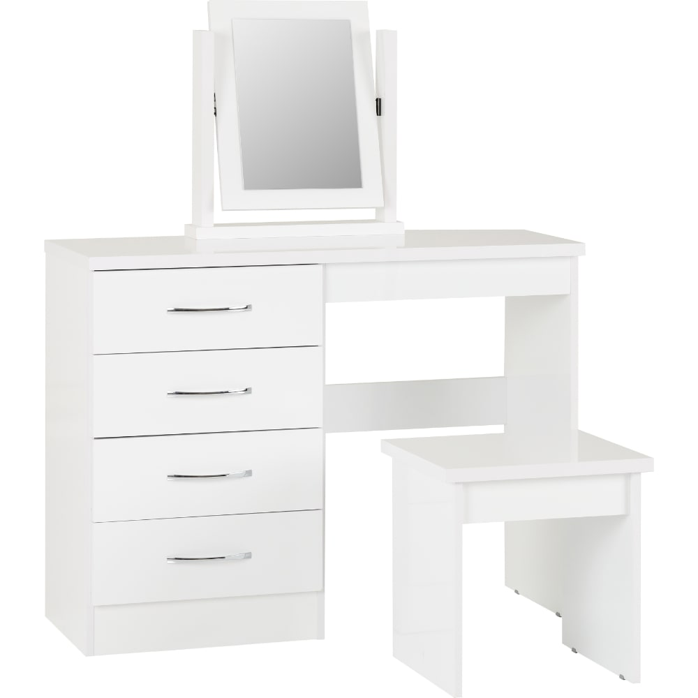 Nevada 4 Drawer Dressing Table - White - Value Flooring and Furniture
