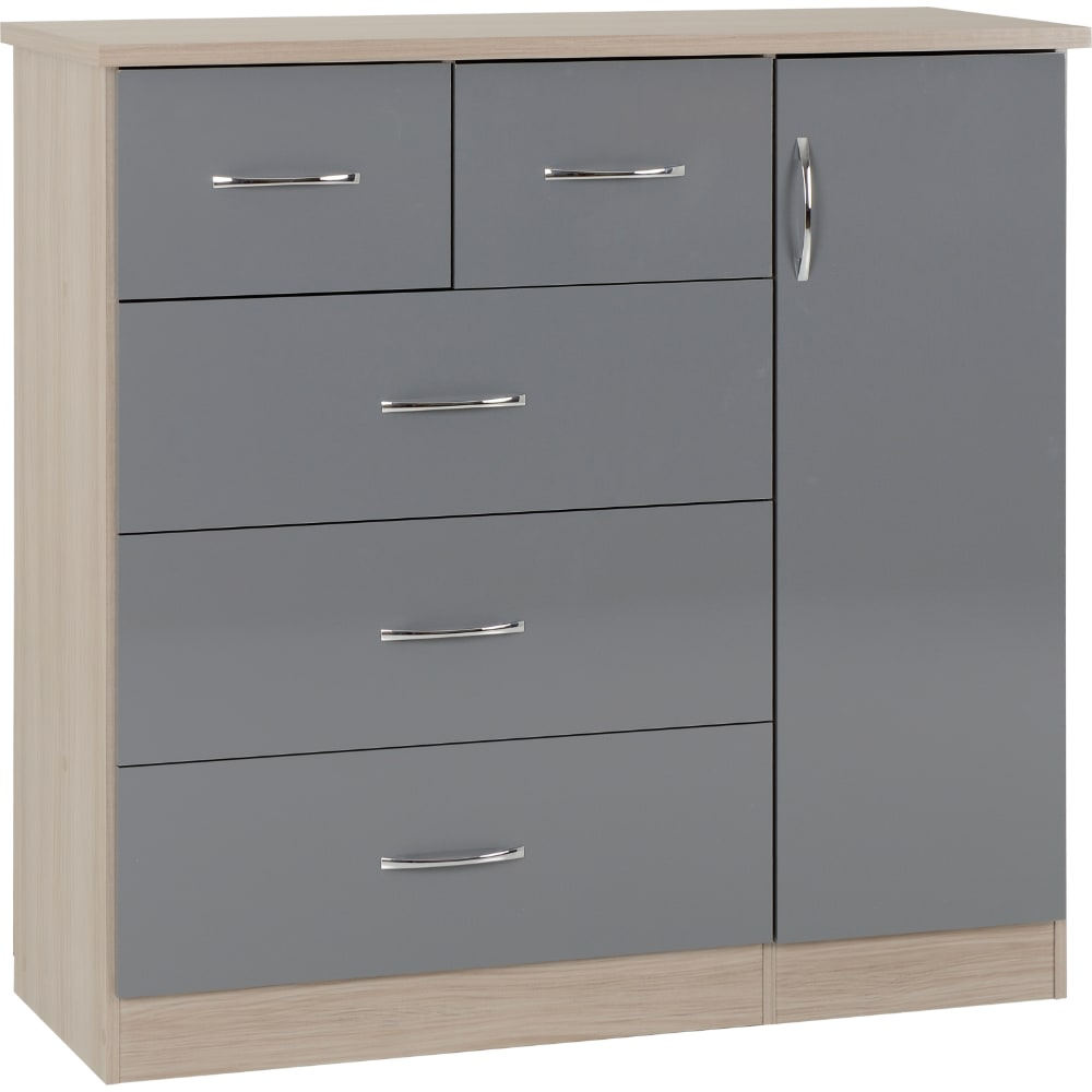 Nevada 5 Drawer Low Wardrobe - Grey - Value Flooring and Furniture