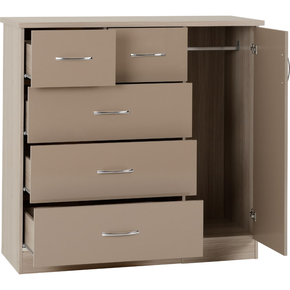 Nevada 5 Drawer Low Wardrobe Open - Oyster - Value Flooring and Furniture