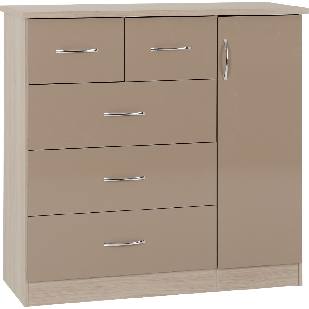 Nevada 5 Drawer Low Wardrobe - Oyster - Value Flooring and Furniture